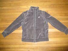 Nike Boys Size Large 12-14 Women's XSmall Gray Velour Velvet-Like Track Jacket