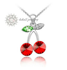 Simulate Ruby Cherry Pendant Necklace/18K White Gold Plated/RGN060/MN016
