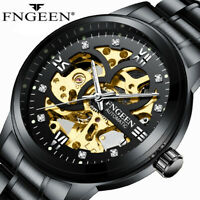 New FNGEEN Men's Skeleton Stainless Steel Automatic Mechanical Sport Wrist Watch