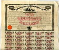 1858  Minnesto Railroad Bond for $1000