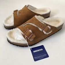 NEW MEN BIRKENSTOCK ZURICH LAMMFELL SHEARLING FUR SUEDE SLIDE SANDAL BROWN 11 44
