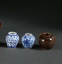 Lot 3 China Chinese Miniature Porcelain 2 Blue & White 1 Brownware Bulbous Vase