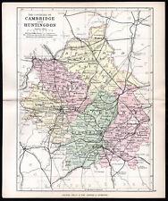 CAMBRIDGE AND HUNTINGDON 1891 George Philip & Son ANTIQUE MAP
