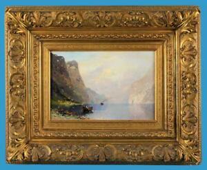 Georg Anton Rasmussen (1842-1914) 'Norwegischer Fjord' sign. Ölgemäde/Holzplatte
