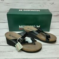 NIB Mephisto Women's Sz 38/8 Black Patent Leather Tyfanie Wedge Sandals