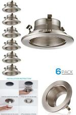 6 Pack 4 Inch Light Trim with Aluminum Reflector White Metal Step Baffle