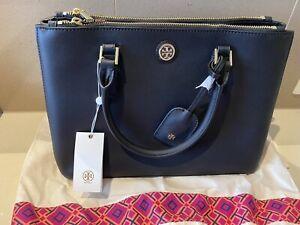 Tory Burch Robinson Double Zip Mini Black Saffiano Leather Bag