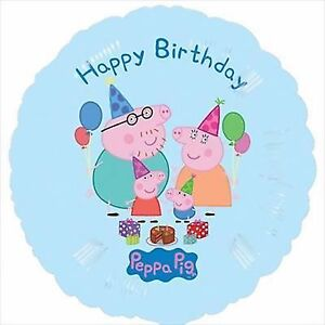 "Peppa Pig ""Happy Birthday"" Foil Balloon 45cm Round - Peppa Pig Party Supplies"