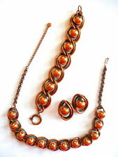 Vintage 1940s 50s Francisco REBAJES Copper Necklace Bracelet & Earrings SET