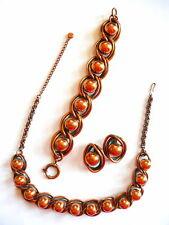 Vintage 1940s 50s Francisco REBAJES Copper Necklace Bracelet & Earrings SET