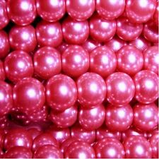 100 pieces 6mm Glass Pearl Beads - Shocking Pink - A0965