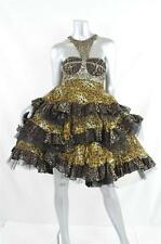LU KUN Womens Leopard Print Tiered Full Circle Knee-Length Puffy Bodice Dress XS