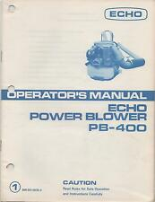 ECHO POWER BLOWER OPERATOR'S MANUAL PB-400, P/N 898 561-0076 0 (550)
