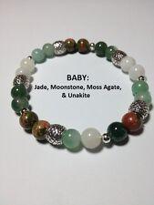 Baby: Jade, Moonstone, Moss Agate, & Unakite Stretch Bracelet Free SH