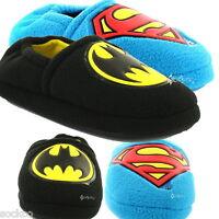 Boys Batman / Superman Logo Soft Fleece Slippers Shoe Sizes 7-1 New Gift