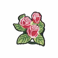 Triple Pink Rose Flower (Iron On) Embroidery Applique Patch Sew Iron Badge