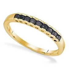 Diamante Negro Banda 10k Oro Amarillo Apilable Borde Filetes .25ct