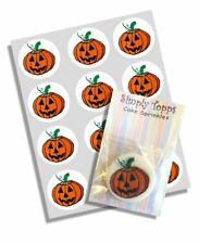 12 Halloween Pumpkin Cupcake Decoration Edible Cake Toppers Cut 40mm Wafer
