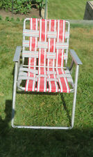 VINTAGE ALUMINUM Folding Chair Red Gray White Stripes Metal Arms