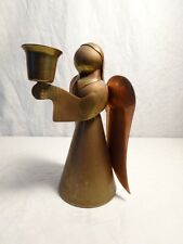 """Vintage 70s Angel Candle Holder Brass 6"""" Tall Made in Hong Kong Good condition"""
