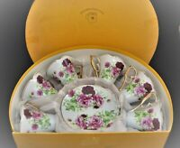 VINTAGE GOLDEN STAR IMPORTS SET OF 6 COFFEE TEA CUPS SAUCERS IN BOX