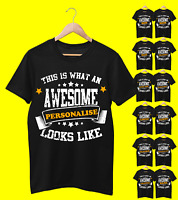 Personalised Birthday Boy girl mum dad son T Shirt Top Boys Kids Children Adult