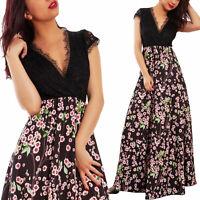 Vestito donna lungo abito floreale corpetto pizzo elegante sexy TOOCOOL JL-2777