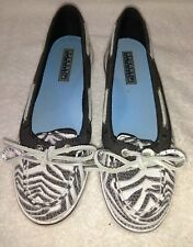 WOMEN'S SPERRY TOP-SIDER SHOES SIZE 6 MEDIUM ZEBRA PRINT WITH CLEAR SEQUINS