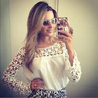 Womens Chiffon Lace Crochet Long Sleeve Shirt Casual Blouse Tops Plus size 8-22