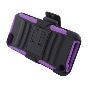iPod Touch 5th 6th & 7th Gen HARD BELT CLIP HOLSTER KICKSTAND CASE BLACK PURPLE