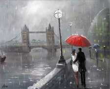 100%HAND-PAINTED ART ACRYLIC OIL PAINTING LONDON CITYSCAPE FIGURE  16X20INCH