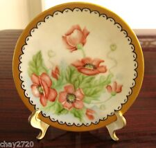 VTG 1969 DECORATIVE PLATE HAND PAINTED WITH RED FLOWERS DESIGN