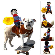 Dog Costume Novelty Funny Riding Horse Cowboy Party Outfit Pet Harness Clothes