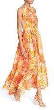 Tracy Reese Floral Print Silk Maxi Dress Tiered Halter Sz XS NWT $548