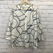 Soft Surroundings Size Large Blouse White Embroidered Button Front Shirt Womens