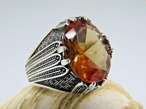 Turkish Handmade Jewelry 925 Sterling Silver Alexandrite Stone Men's Ring Sz 9