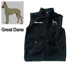 Great Dane Dog Fleece Vest with Zippers Personal Name Stitched Monogrammed