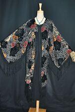 Art Classic Color Flower Burnout Velvet Fringe Opera Coat Duster Jacket Kimono