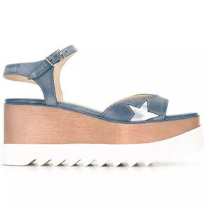 Stella McCartney Denim Elyse Star Platform Wedge Sandal. BNIB. Size EU39.5.