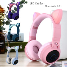 Luces LED Auricular Auricular Bluetooth Inalámbrico Auriculares De Gato Niños Adultos UK
