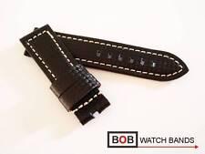 Bob carbon echtlederuhrband para breitdornschliesse negro con costura blanca 24 mm