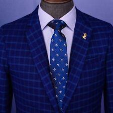 "New Navy Blue Italian Fleur-De-Lis Designer Tie 3"" Necktie Florentine Accessory"