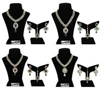 Unique Crystal Stone & Kundan CZ Stone Indian Bollywood Traditional Necklace Set