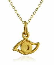 Tiny Evil Eye Charm Necklace - 24K Gold Plate Sterling Silver - Protection *NEW*
