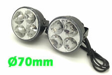 Round DRL 4 LED Daytime Running Lights Front Spot Fog Lamps For Audi A4 A6 A8
