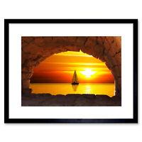 Sailing Sailboat Bridge Arch Seascape Sunset Framed Wall Art Print