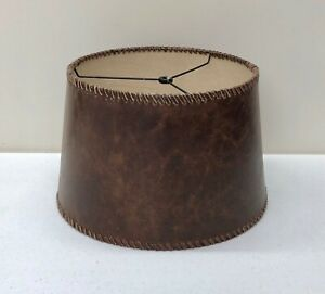 NEW Pottery Barn Leather Stitched Tapered Drum SMALL Lamp Shade LAST ONE