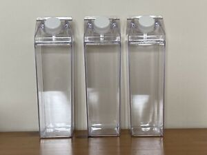 Milk Carton Water Bottle Acrylic Clear Plastic Fast