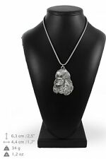 Poodle - silver plated necklace with silver cord, high quality, Art Dog