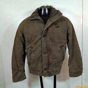 Abercrombie Adirondack Cotton FIELD JACKET Boy Size L large Military pile green